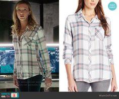 Laurel's white plaid shirt on Arrow.  Outfit Details: https://wornontv.net/56802/ #Arrow