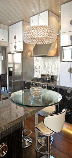 Glamorous Modern Chic Kitchen, love the small round table at island edge
