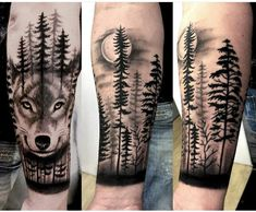 Animal Sleeve Tattoo, Lion Tattoo Sleeves, Nature Tattoo Sleeve, Arm Sleeve Tattoos, Tattoo Sleeve Designs, Arm Tattoos Wolf, Wolf Tattoo Forearm, Calf Tattoo Men, Body Art Tattoos