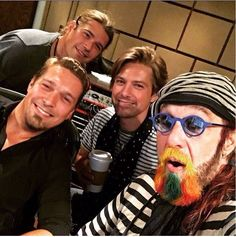 Hanson with mark o Hudson - it's 20 years ago today that mark helped the guys record their Christmas album snowed in and now he is doing it again with their new Christmas album - is it just me that I think Taylor looks different in this picture