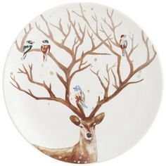 Delight your guests when you serve hors d'oeuvres, sweets or salad on our plate featuring a beautiful winter scene—colorful birds perching quietly on a buck's impressive antlers. Perfect for the holidays, but you can use our glazed ironstone plate all winter long. Plus, it's dishwasher-safe and may be used in the microwave.