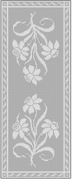 filet crochet table runner free chart pattern