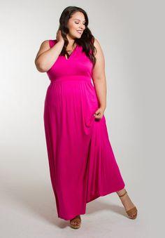 Plus Size Maxi Dress :: Bonnie Maxi - Magenta :: Curvalicious Clothes #plussize #plussizefashion