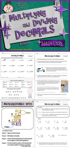 Multiplying and Dividing Decimals Made Easy (Bundled Unit) - Distance Learning Sixth Grade Math, Teaching 5th Grade, Teaching Math, Dividing Decimals, Multiplying Decimals, Integers, Percents, Fractions, Mall