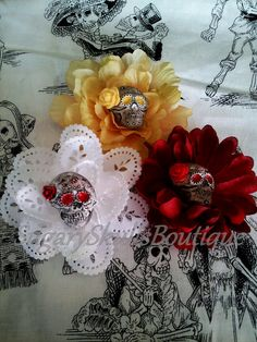 Dia de los Muertos Hair Flower Clips, 3 Flowers, Day of the Dead, Pin Up Girl, Sugar Skull Makeup, Halloween Costume on Etsy, $32.00