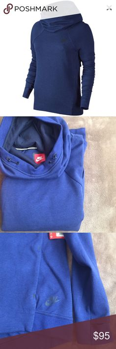 NWT Nike Tech Pullover Blue fleece lined Nike pullover hoodie. Can be worn as a cute mock neck or pulled over as a hood. Oversized style- marked as medium but could work as a large. Fasteners on hood to tighten and minimize wind! This sweatshirt is so comfortable! Front hoodie pocket and thumb peephole on sleeves for added comfort. Nike Tops Sweatshirts & Hoodies
