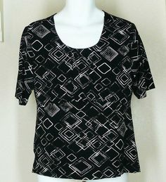 Chico's Slinky Knit Black Print Top Sz 2 L Misses Gathered Bodice Jewel Neck #Chicos #KnitTop #Casual