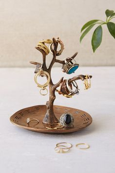 Magical Thinking Tree Ring Holder- Gold One - Cell Phone Ring Holder - Ideas of Cell Phone Ring Holder - Magical Thinking Tree Ring Holder- Gold One Jewellery Storage, Jewelry Organization, Jewellery Display, Earring Storage, Jewelry Stand, Jewelry Holder, Ring Holders, Diy Clay, Clay Crafts