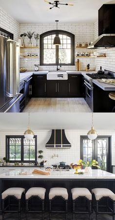 Kitchen Cabinet Design, Modern Kitchen Design, Kitchen Cabinets, Home Decor Kitchen, Kitchen Interior, Kitchen Furniture, Black Kitchens, Home Kitchens, Black Counter Stools