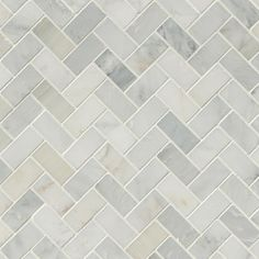 Arabescato Carrara Herringbone Pattern Honed Tile - Mosaics
