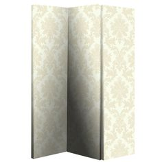 Cream Damask Room Divider - 008140