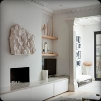 built in low cupboards Hallway Storage, Storage Shelves, Shelving, Built In Around Fireplace, London Location, Cupboards, Living Room Interior, Built Ins, Home Goods