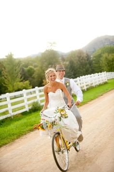 adorable bride and groom on a tandem Wedding Images, Wedding Shoot, Farm Wedding, Wedding Pictures, Wedding Bells, Dream Wedding, Wedding Country, Couple Photography, Wedding Photography