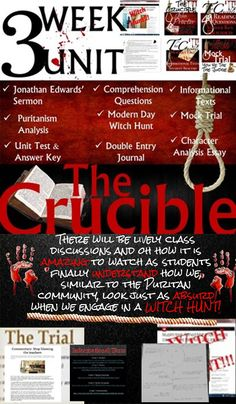 Arthur Miller's The Crucible: Modern Day Witch Hunt with Informational Texts Comprehension Questions, Reading Comprehension, Pre Reading Activities, Classroom Activities, Double Entry Journal, Modern Day Witch, Secondary Teacher, Power Points, English Language