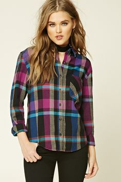 A woven cotton shirt featuring an allover plaid pattern, a button-down front, a basic collar, a buttoned patch-pocket, long sleeves with button cuffs, and a curved hem.