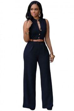 Black Belted Wide Leg Jumpsuit Plus size XL-2X, M, L #Unbranded #Jumpsuit