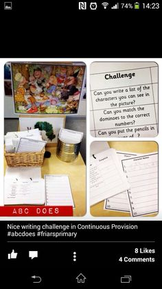Challenge cards from Abc does Year 1 Classroom, Eyfs Classroom, Classroom Ideas, Writing Area, Cool Writing, Eyfs Activities, Writing Activities, Characteristics Of Learning, Abc Does