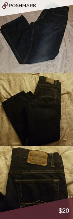 Aeropostale straight leg dark wash jeans Brand: aeropostale Size: 32x30 Measurements: 32x30 Condition: excellent  Photo/flash may alter actual color of item. Feel free to make me an offer. No trades. Aeropostale Jeans Straight