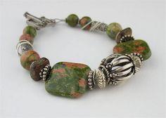 Handmade Chunky Beaded Beaded Stone Bracelet by LoneRockJewelry, $60.00
