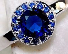 1CT Australian Blue Sapphire Solitaire Surrounded by White Topaz 925 Genuine Solid Sterling Silver Ring
