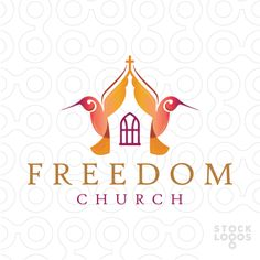 Logo for sale: Two beautiful stylized humming birds create a church within the white space the design.