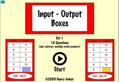 Algebra and functions Input output boxes (1-4)
