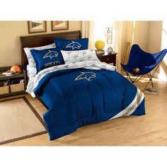 NCAA Bobcats Comforter Sheets Twin Set Blue Gold Sports Patterned Collegiate Football Themed Bedding Team Logo Fan Merchandise Athletic Team Spirit Fan Polyester Unisex