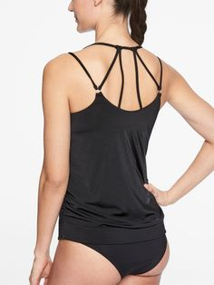 a9ec349d2870a NWT Athleta Aqualuxe Blousy Tankini Top - Black - Medium M #fashion  #clothing #