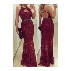 Rotita Wine Red Open Back Belt Design Lace Dress ($26) ❤ liked on Polyvore featuring dresses, gowns, outfits, wine red, lace maxi dress, purple lace dress, purple dress, lace gown and red evening gowns