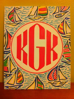 8x10 monogram patterned canvas panel by KinziesCrafts on Etsy
