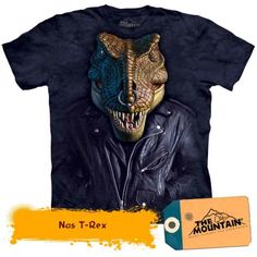 The Mountain Adult Unisex Graphic Tee, Nas T-Rex, Medium Dinosaur Toys For Kids, T Rex, Shirt Designs, Leather Jacket, Mens Tops, T Shirt, Jackets, Mountain, Clothes