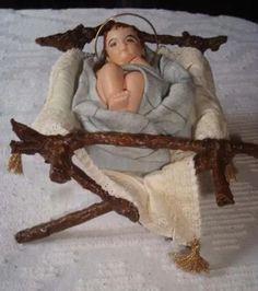 Christmas Manger, Christmas Nativity Scene, Rustic Christmas, Christmas Crafts, Christmas Decorations, Xmas, Nativity Stable, Nativity Crafts, Baby Jesus