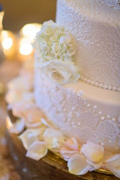 Elegant 4-Tier Round White Wedding Cake with Sugar Lace and Flowers by @The cake zone, www.thecakezone.com