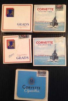 R1833-Lot-of-5-empty-cigarette-packs-1940s-Corvette-amp-Grads