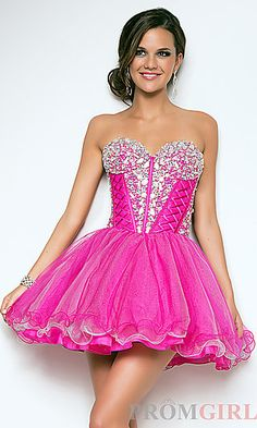 Short Pink Strapless Babydoll Dress at PromGirl.com