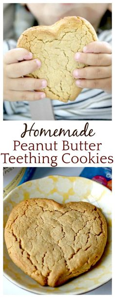So many parents are making their own baby food now (including me!) but I never thought of making my own teething cookies! Can't wait to try this H… – Organics® Baby food Peanut Butter Baby, Peanut Butter Snacks, Homemade Peanut Butter, Peanut Butter Cookie Recipe, Peanut Butter Recipes, Baby Cookie Recipe, Baby Biscuit Recipe, Baby Teething Biscuits, Teething Cookies