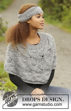 """Passing Storm - Knitted DROPS poncho and head band with lace pattern, worked sideways in """"Cloud"""". Size: S - XXXL. - Free pattern by DROPS Design"""