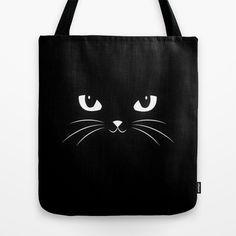 Cute Black Cat Tote Bag by badbugs_art - $22.00