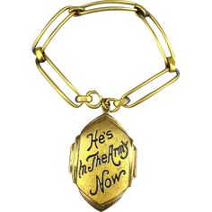 1940s WWII ARMY Sweetheart Bracelet w/ Locket Charm Pendant