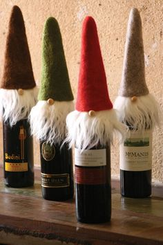 Raise a glass to our Felt Santa Wine Toppers! You'll love these holiday wine bottle toppers' pointy hats & wispy beards. Shop Santa Claus Wine Bottle Toppers now Christmas Wine, Christmas Gnome, Homemade Christmas, Christmas Projects, Father Christmas, Christmas Recipes, Rustic Christmas, Christmas Holidays, Wine Craft
