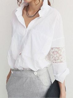 Cheap shirt blouses, Buy Quality shirts japan directly from China shirt set Suppliers: 2015 Ms Lace Blusas Hollow Out Tops Embroidery Ladies Long-sleeved White Shirt Female Casual Clothing Women Blouses for Girls Elegantes Business Outfit, Lingerie Look, Jeans Und Sneakers, Classic White Shirt, Refashioning, Spring Shirts, Lace Insert, White Shirts, White Blazers