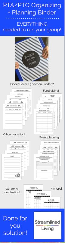 Are you ready to lead your PTA/PTO?  This done-for-you Organizing and Planning binder is the ultimate solution!    It's just the ticket for an organized and drama free year for all parent groups like PTA and PTOs.  This binder is a great way for building administrators and school principals to ensure parent groups run smoothly!      New PTA president or PTO President?  You'll have no worries with this kit that has everything you'll need from office transitions, event and fundraising…