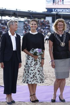 "Princess Madeleine of Sweden attended opening ceremony of ""Longines FEI European Show Jumping Championships"" on 21 August 2017 at the Ullevi Stadium in Gothenburg, Sweden."