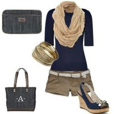Great Outfits with Thirty-One accessories - 5-pocket clutch and Cindy Tote in Denim.