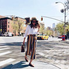Striped culottes + white shirt = ❤ // Pantacourt listrada + blusa branca = ❤