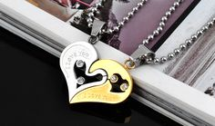 lovers two heart rhinestone 316L Stainless Steel pendant necklaces Never fade   wholesale jewelry