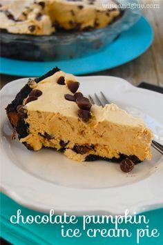 Chocolate Pumpkin Ice Cream Pie!  A simple delicious dessert that combines pumpkin and rich chocolate! via www.wineandglue.com