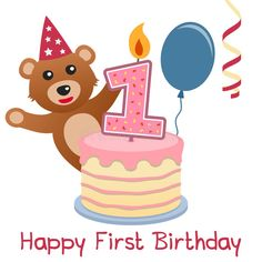 First Birthday Teddy Bear royalty free illustration First Birthday Candle, Happy First Birthday, Birthday Candles, First Birthdays, Blue Candles, Cute Cakes, Free Illustrations, Recipe Cards, Streamers