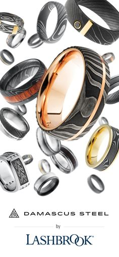 Damascus Steel rings by Lashbrook.