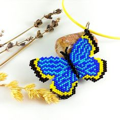 Beaded butterfly necklace Butterfly jewelry Beaded от Galiga